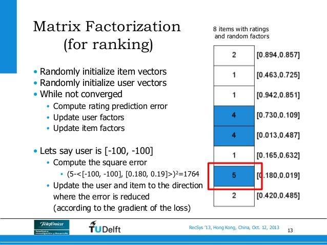 13 RecSys '13, Hong Kong, China, Oct. 12, 2013 Matrix Factorization (for ranking) • Randomly initialize item vectors • R...