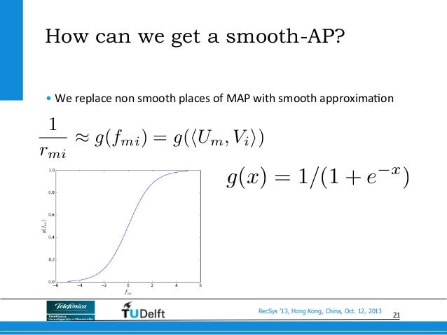 21 RecSys '13, Hong Kong, China, Oct. 12, 2013 How can we get a smooth-AP? •We  replace  non  smooth  places  o...