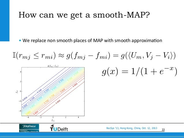22 RecSys '13, Hong Kong, China, Oct. 12, 2013 How can we get a smooth-MAP? •We  replace  non  smooth  places  ...