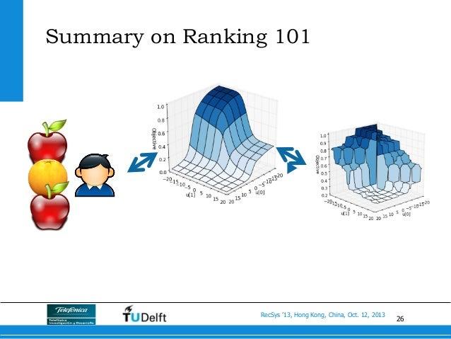 26 RecSys '13, Hong Kong, China, Oct. 12, 2013 Summary on Ranking 101