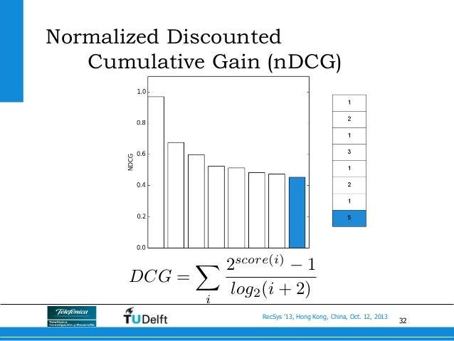 32 RecSys '13, Hong Kong, China, Oct. 12, 2013 DCG = X i 2score(i) 1 log2(i + 2) Normalized Discounted Cumulative Gain (nD...
