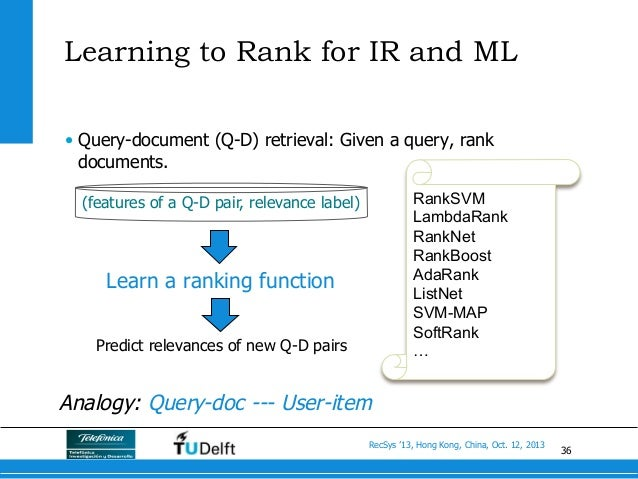 36 RecSys '13, Hong Kong, China, Oct. 12, 2013 Learning to Rank for IR and ML • Query-document (Q-D) retrieval: Given a q...