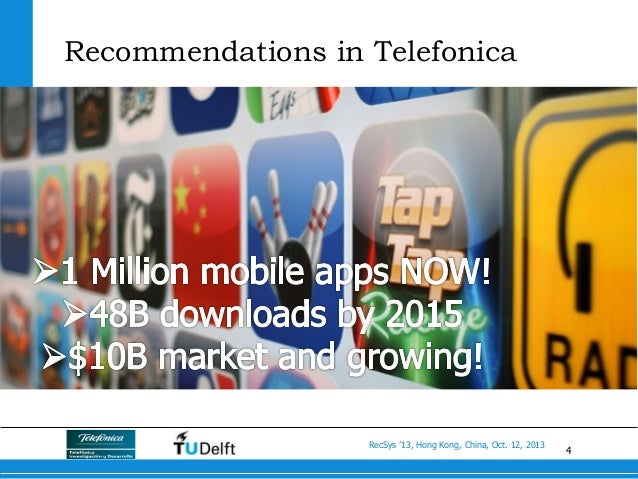 4 RecSys '13, Hong Kong, China, Oct. 12, 2013 Recommendations in Telefonica