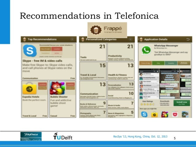 5 RecSys '13, Hong Kong, China, Oct. 12, 2013 Recommendations in Telefonica