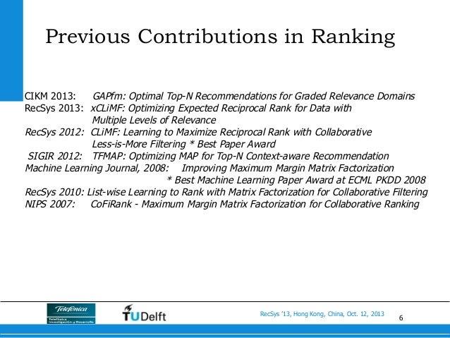 6 RecSys '13, Hong Kong, China, Oct. 12, 2013 Previous Contributions in Ranking CIKM 2013: GAPfm: Optimal Top-N Recommenda...