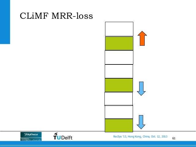 61 RecSys '13, Hong Kong, China, Oct. 12, 2013 CLiMF MRR-loss