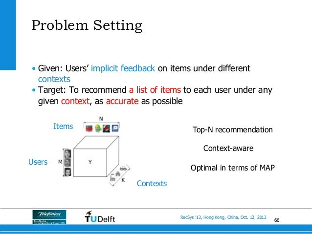 66 RecSys '13, Hong Kong, China, Oct. 12, 2013 Problem Setting • Given: Users' implicit feedback on items under different...