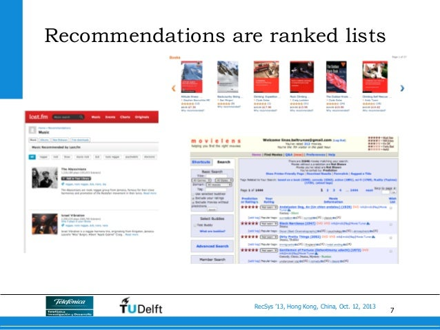 7 RecSys '13, Hong Kong, China, Oct. 12, 2013 Recommendations are ranked lists