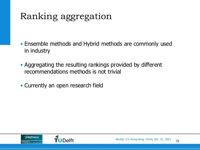 72 RecSys '13, Hong Kong, China, Oct. 12, 2013 Ranking aggregation • Ensemble methods and Hybrid methods are commonly use...