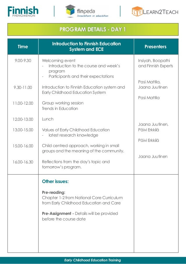 Time Presenters PROGRAM DETAILS - DAY 1 Introduction to Finnish Education System and ECE 9.00-9.30 9.30-11.00 11.00-12.00 ...