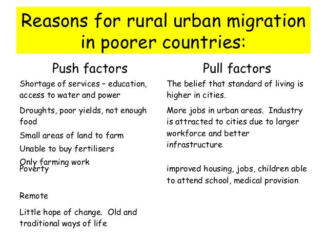 causes and consequences rural urban migration The causes and consequences of migration flows regarding the causes and consequences of varying migration flows to sweden and on the social effects on rural.