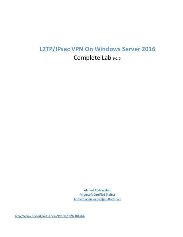 L2 tp i-psec vpn on windows server 2016 step by step