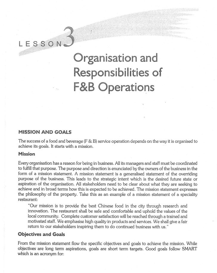 Organization and Responsibles of F&B Operations