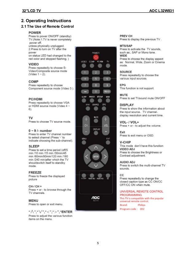 l32 w831 service manual