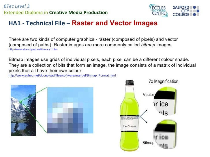 HA1 - Technical File –  Raster and Vector Images There are two kinds of computer graphics - raster (composed of pixels) an...