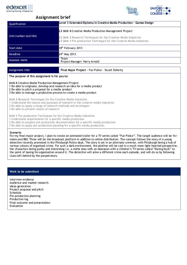 Assignment briefQualification Level 3 Extended Diploma in Creative Media Production – Games DesignUnit number and titleL3 ...