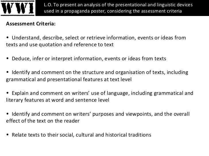 <ul><li>Assessment Criteria: </li></ul><ul><li>Understand, describe, select or retrieve information, events or ideas from ...