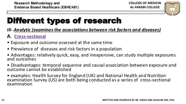 Research Methodology and Evidence Based Healthcare (EBHC481) Different types of research III- Analytic (examines the assoc...