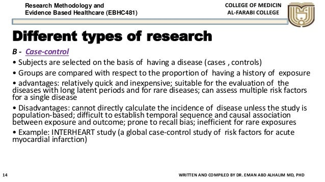 Research Methodology and Evidence Based Healthcare (EBHC481) Different types of research B - Case-control • Subjects are s...