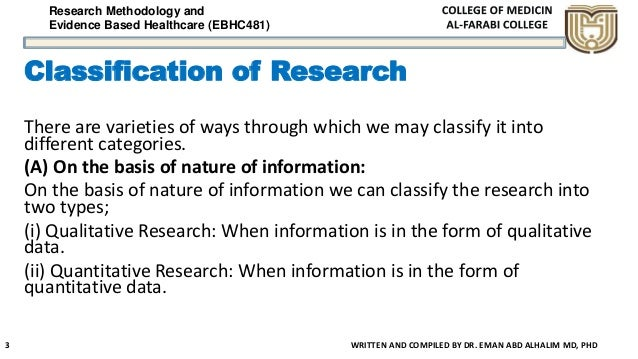 Research Methodology and Evidence Based Healthcare (EBHC481) Classification of Research There are varieties of ways throug...
