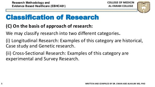 Research Methodology and Evidence Based Healthcare (EBHC481) Classification of Research (C) On the basis of approach of re...