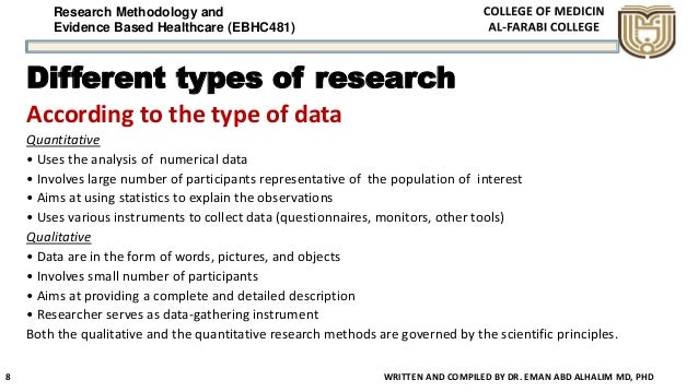 Research Methodology and Evidence Based Healthcare (EBHC481) Different types of research According to the type of data Qua...