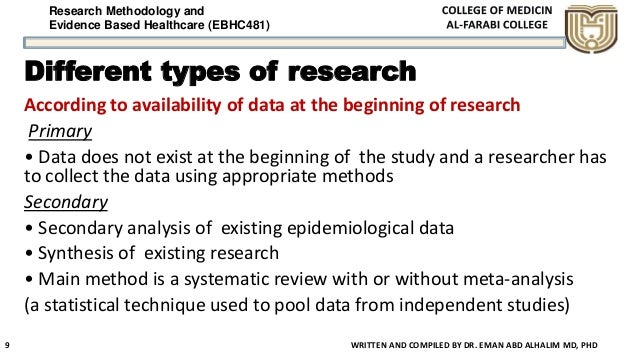 Research Methodology and Evidence Based Healthcare (EBHC481) Different types of research According to availability of data...