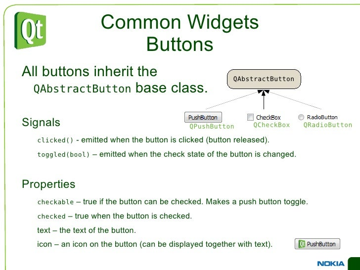 An Example Dialog QVBoxLayout *outerLayout = new QVBoxLayout(this); QHBoxLayout *topLayout = new QHBoxLayout(); topLayout-...