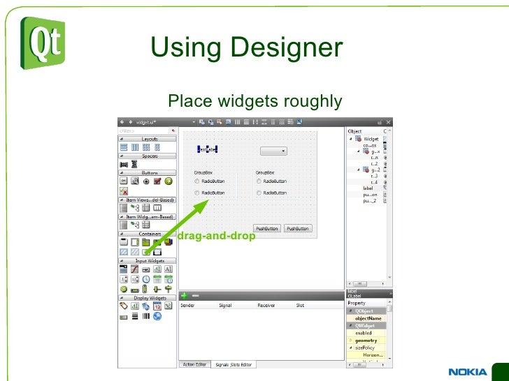 Designer has a good overview of the widget groups </li></ul>