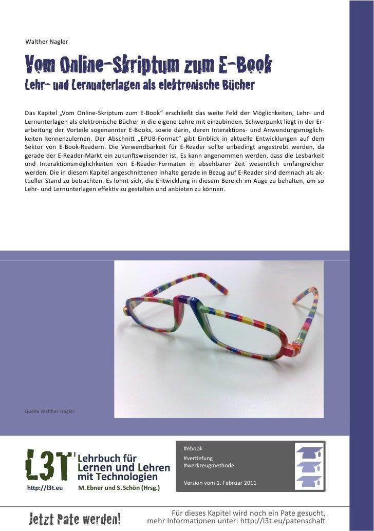 """Walther NaglerVom Online-Skriptum zum E-BookLehr- und Lernunterlagen als elektronische BücherDas  Kapitel  """"Vom  O..."""
