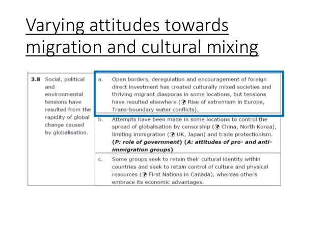 Varying attitudes towards migration and cultural mixing