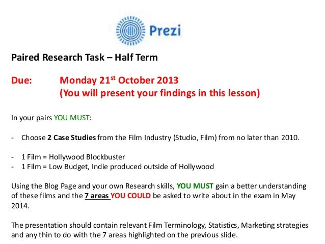 Paired Research Task – Half Term Due: Monday 21st October 2013 (You will present your findings in this lesson) In your pai...