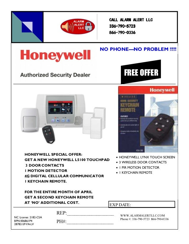 HONEYWELL SPECIAL OFFER:GET A NEW HONEYWELL L5100 TOUCHPAD3 DOOR CONTACTS1 MOTION DETECTOR4G DIGITAL CELLULAR COMMUNICATOR...