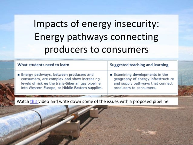 Impacts of energy insecurity: Energy pathways connecting producers to consumers Watch this video and write down some of th...