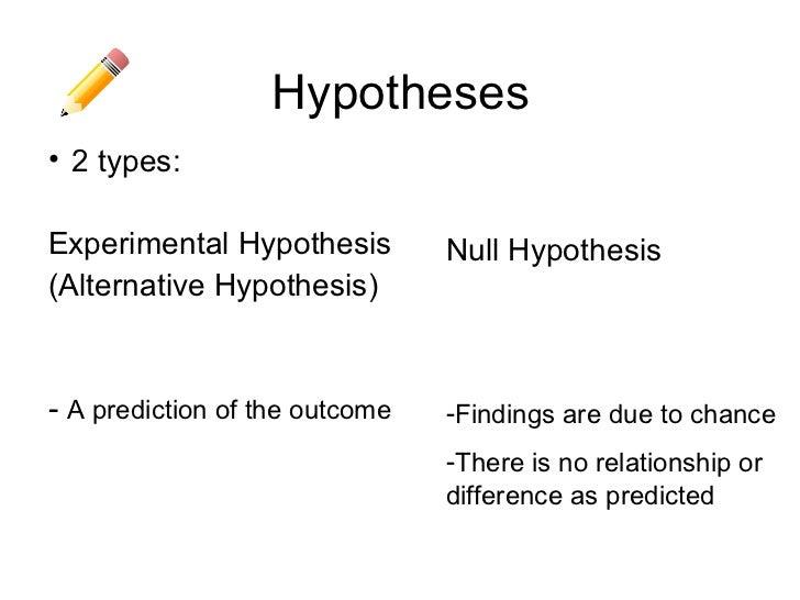 Experimental hypothesis
