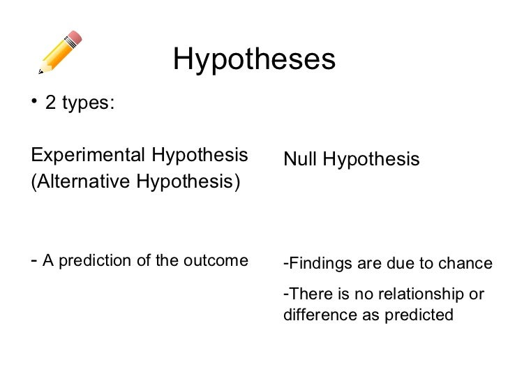 Hypotheses• 2 types:Experimental Hypothesis         Null Hypothesis(Alternative Hypothesis)- A prediction of the outcome  ...