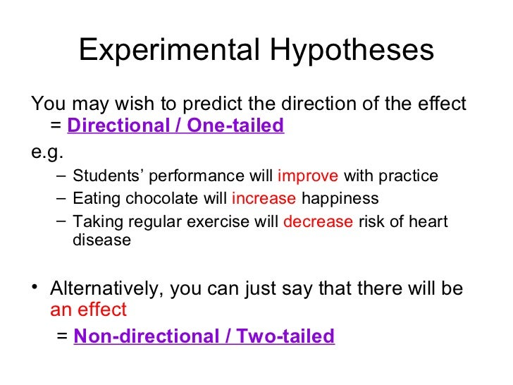 directional hypothesis