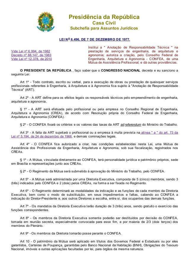 05/05/2015 L6496 http://www.planalto.gov.br/ccivil_03/leis/l6496.htm 1/3 PresidênciadaRepública CasaCivil Subchefiapar...