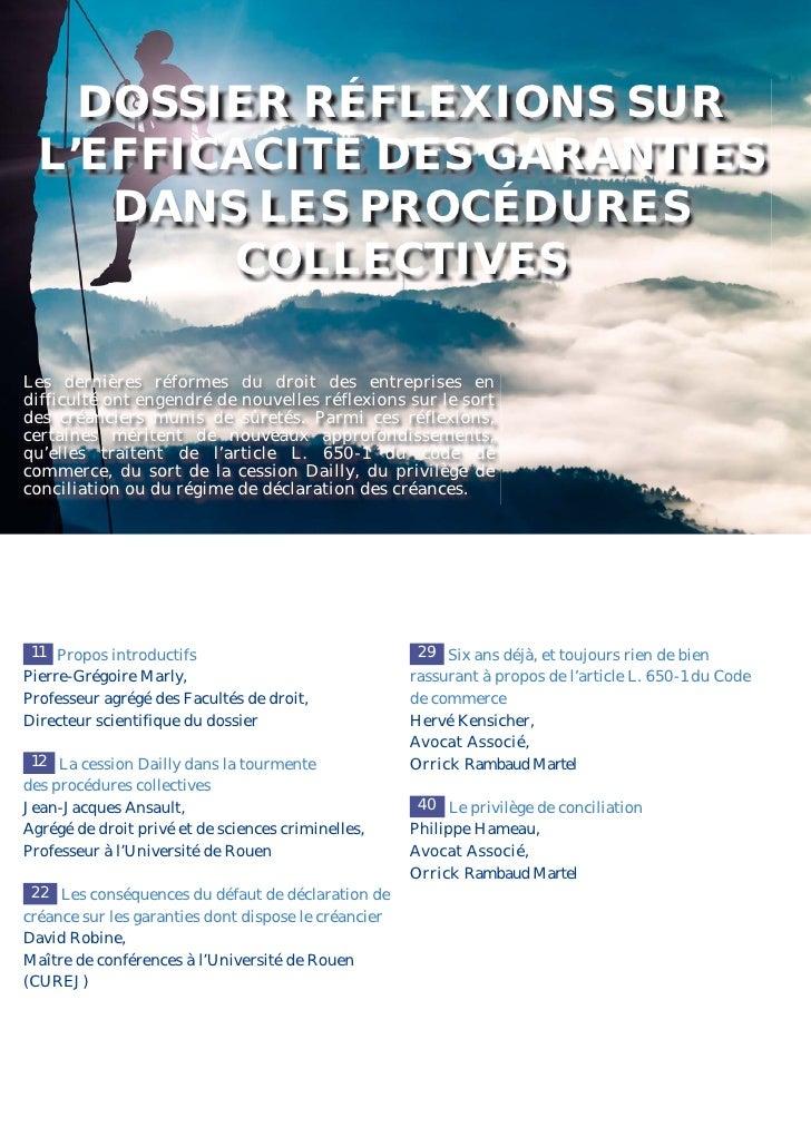 DOSSIER RÉFLEXIONS SUR  L'EFFICACITÉ DES GARANTIES     DANS LES PROCÉDURES         COLLECTIVESLes dernières réformes du dr...