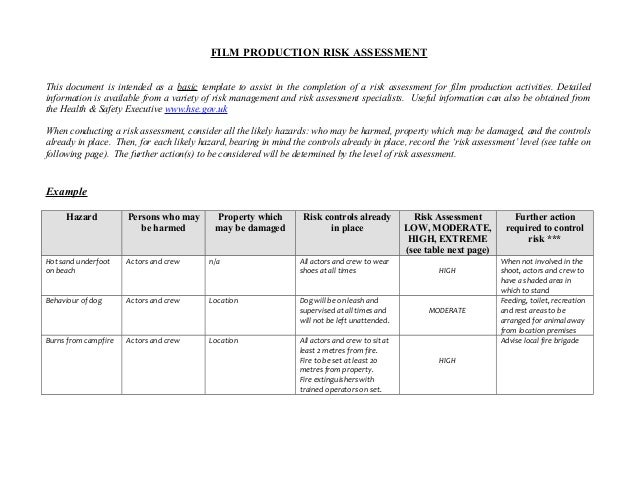 formal risk assessment template - l6g film production risk assessment form example and