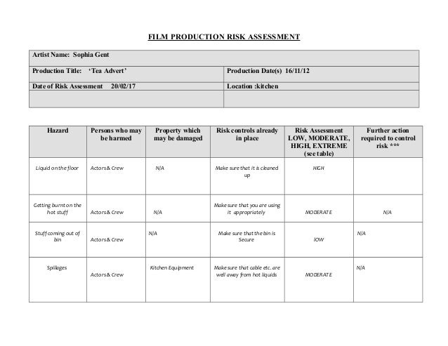 L6g film production risk assessment form example and template 3 film production risk assessment pronofoot35fo Choice Image