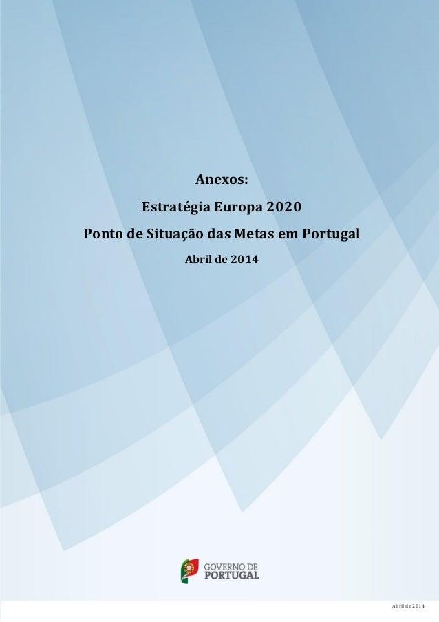 Anexos: Estratégia Europa 2020 Ponto de Situação das Metas em Portugal Abril de 2014 Abril de 2014