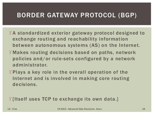 Tries tree based structures for strings for Exterior gateway protocol examples