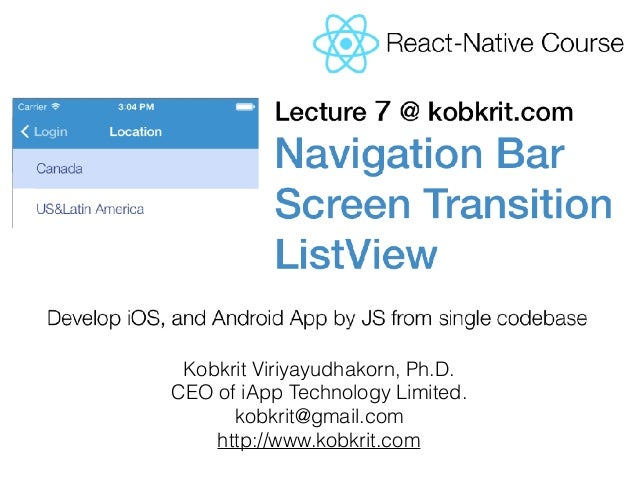 React Native Tutorial] Lecture 7: Navigation - Scene Transition - Li…