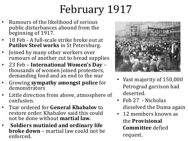 a glimpse at the cause of the russian revolution of february 1917 Causes of: the russian revolution but the russian revolution of 1905 was a major cause/ influence on the february revolution of russia on 1917.