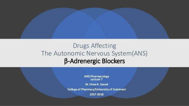 Drugs Affecting The Autonomic Nervous System(ANS) β-Adrenergic Blockers ANS Pharmacology Lecture 7 Dr. Hiwa K. Saaed Colle...