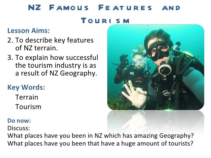 NZ Famous Features and Tourism <ul><li>Lesson Aims: </li></ul><ul><li>To describe key features of NZ terrain. </li></ul><u...