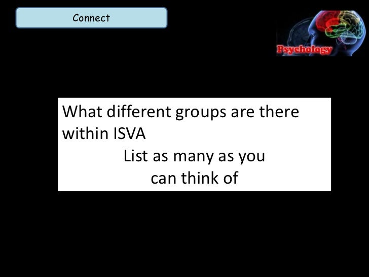 ConnectWhat different groups are therewithin ISVA         List as many as you              can think of