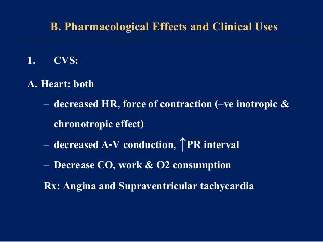 Reflex peripheral vasoconstriction!? B. Vascular system: prevent β2 mediated vasodilation→ reduction in COP (because of ca...