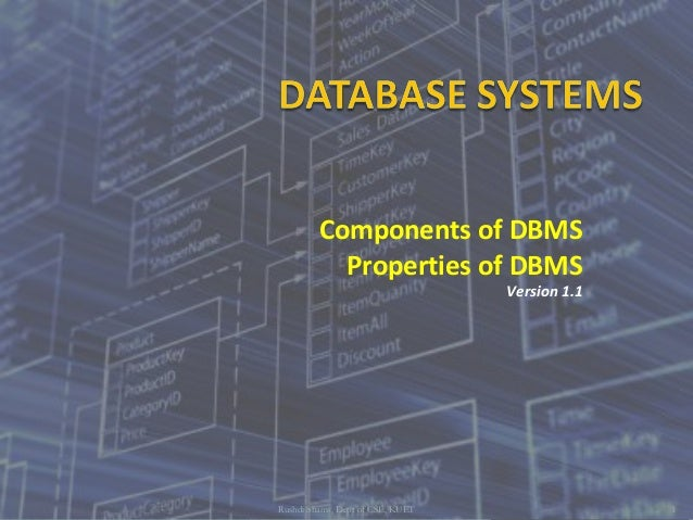 Components of DBMS Properties of DBMS Version 1.1 Rushdi Shams, Dept of CSE, KUET 1